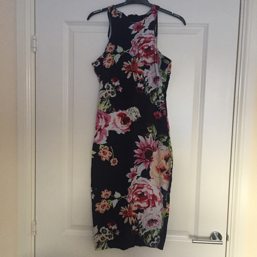 AX Paris Navy and Floral Print Bodycon Midi Dress