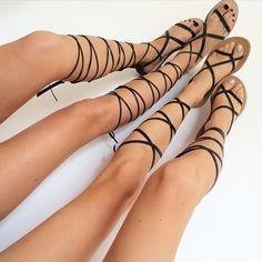 Black gladiator women's sandals
