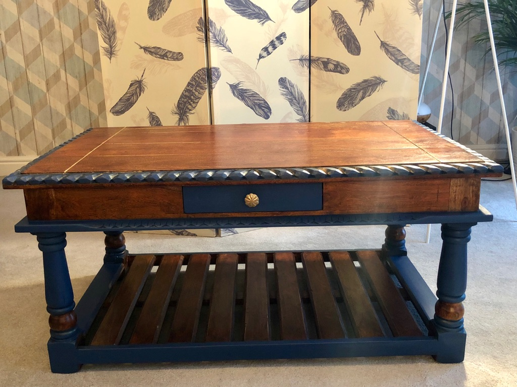 Heavy Solid Wood Table Carved With Two Drawers with gold and navy detail
