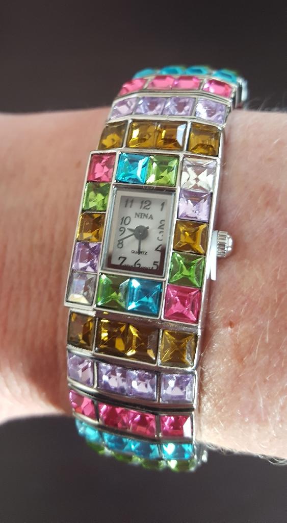 Multicoloured crystal bangle watch