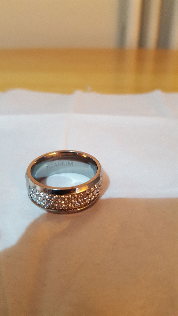 Titanium with Crystal Ring