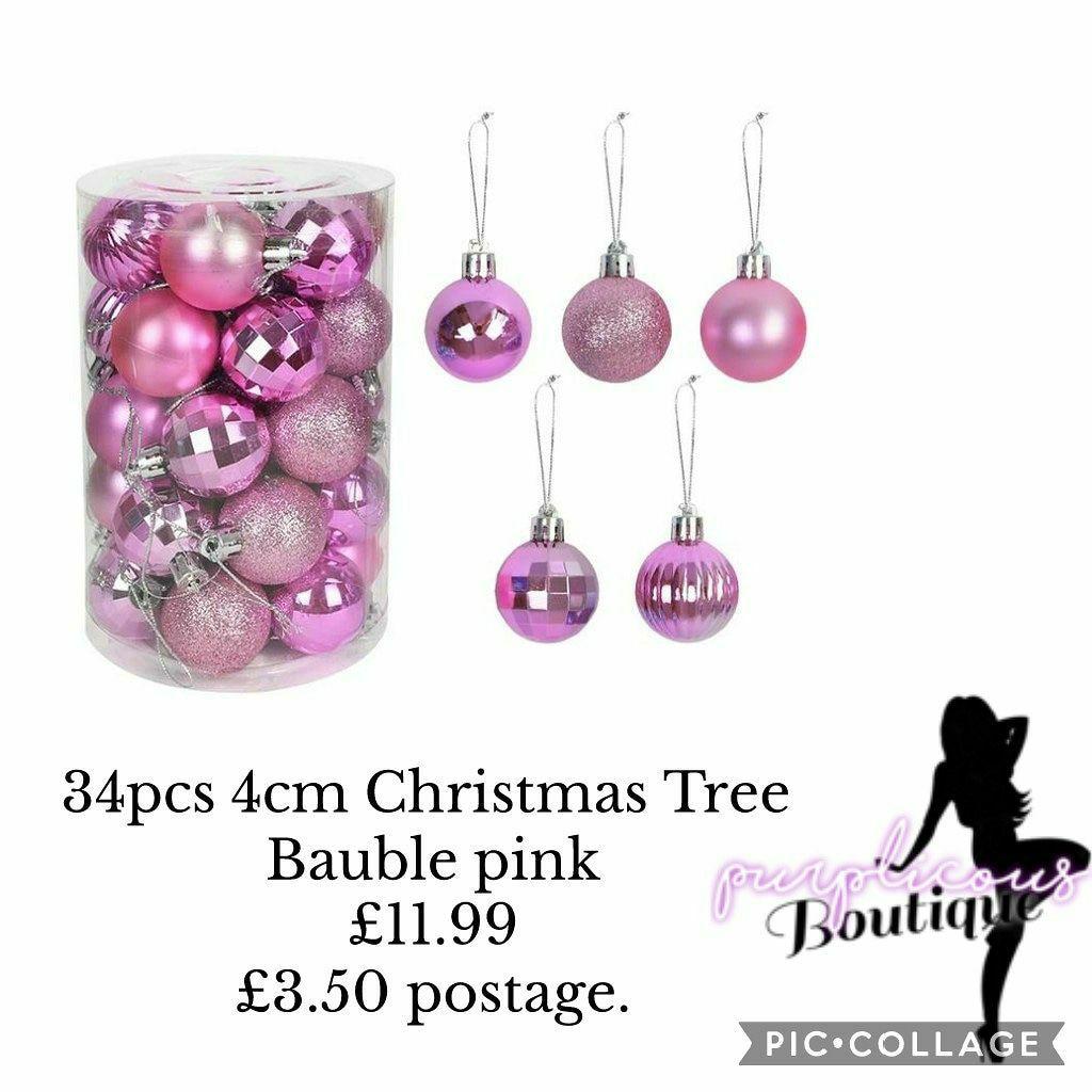 34pcs 4cm Christmas Tree Bauble pink
