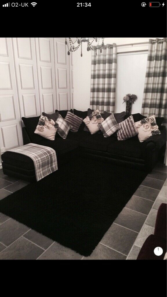 Beautiful black and grey right hand corner group sofa