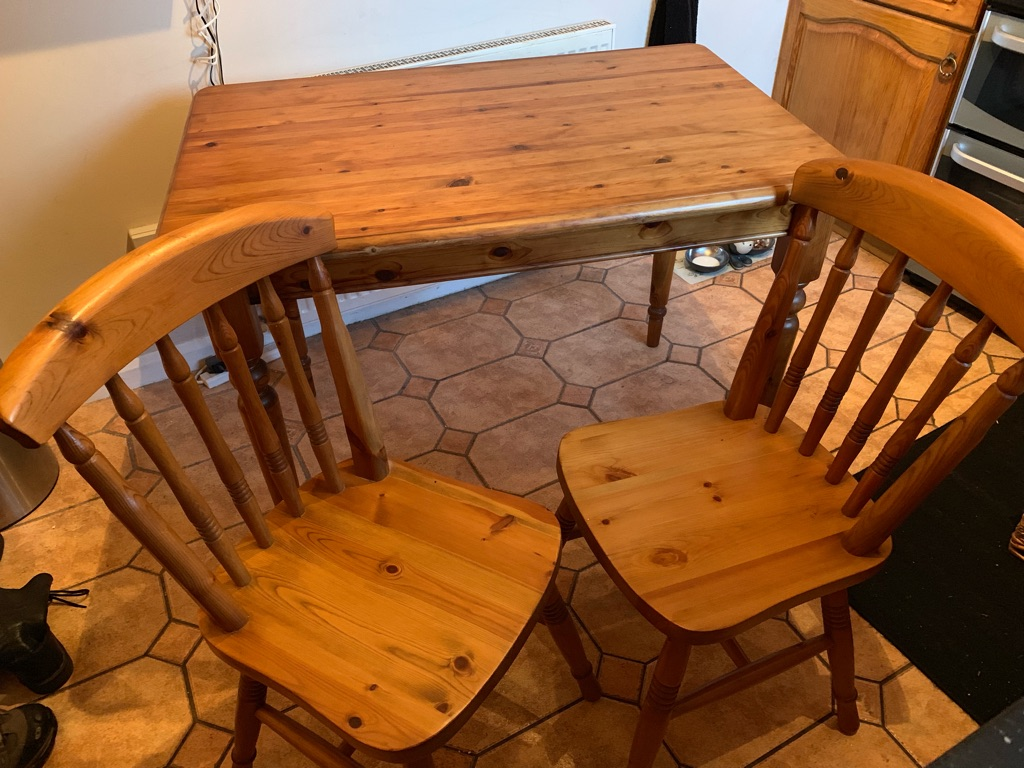 Antique Pine Table & Chairs