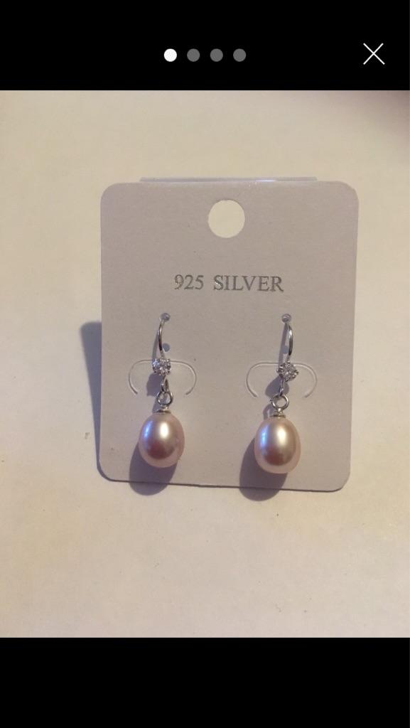 New 925 silver pearl drop earrings