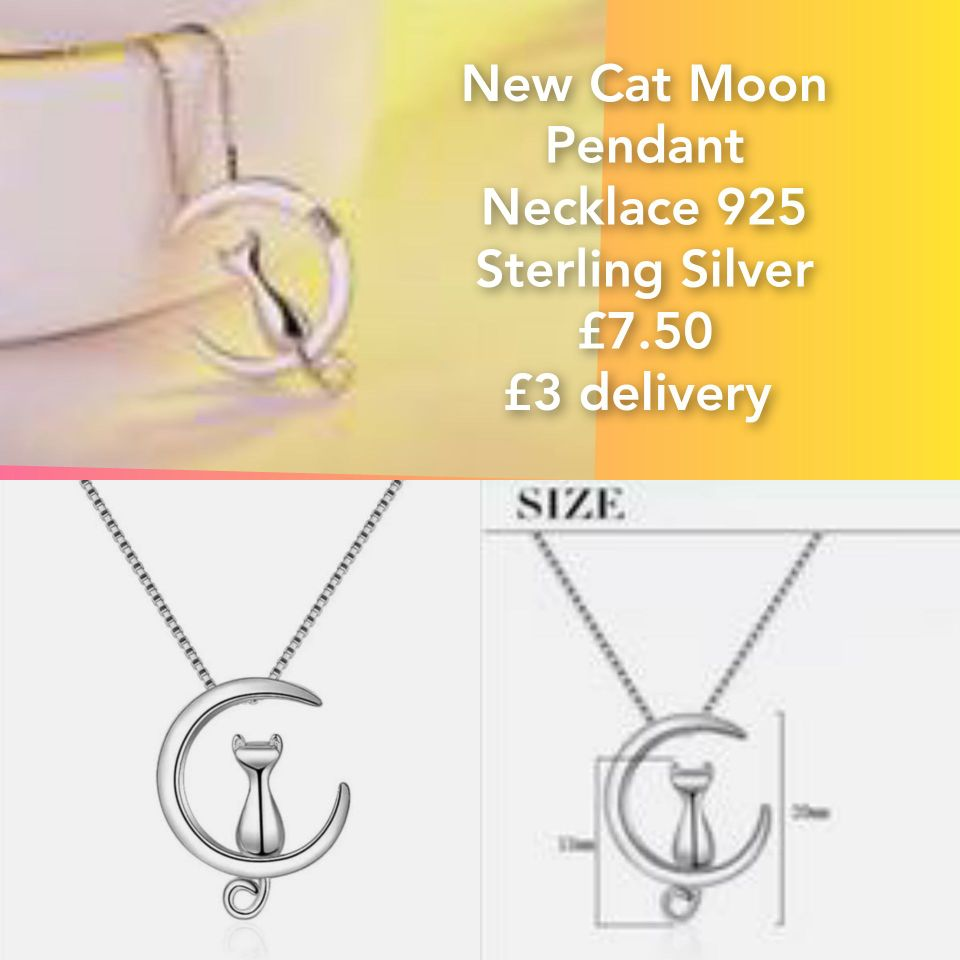 New Cat Moon Pendant Necklace 925 Sterling Silver