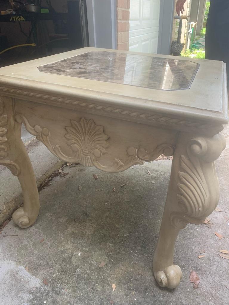 Wood/Granite Chalk Painted Side Table