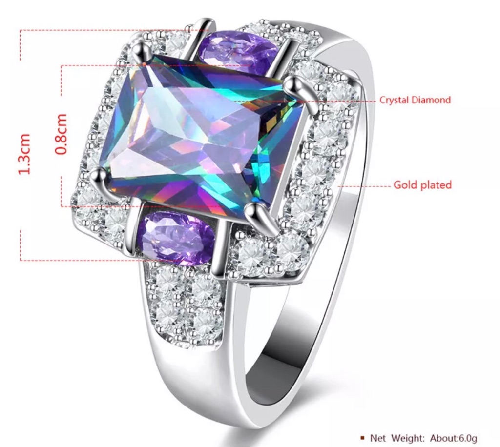 New 925 Silver Colorful Zircon and love crystal gemstone sz 9