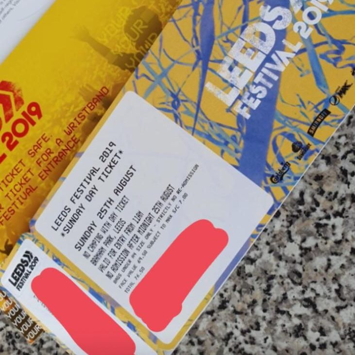 LEEDS FESTIVAL SUNDAY DAY TICKET 25th august 2019        £55