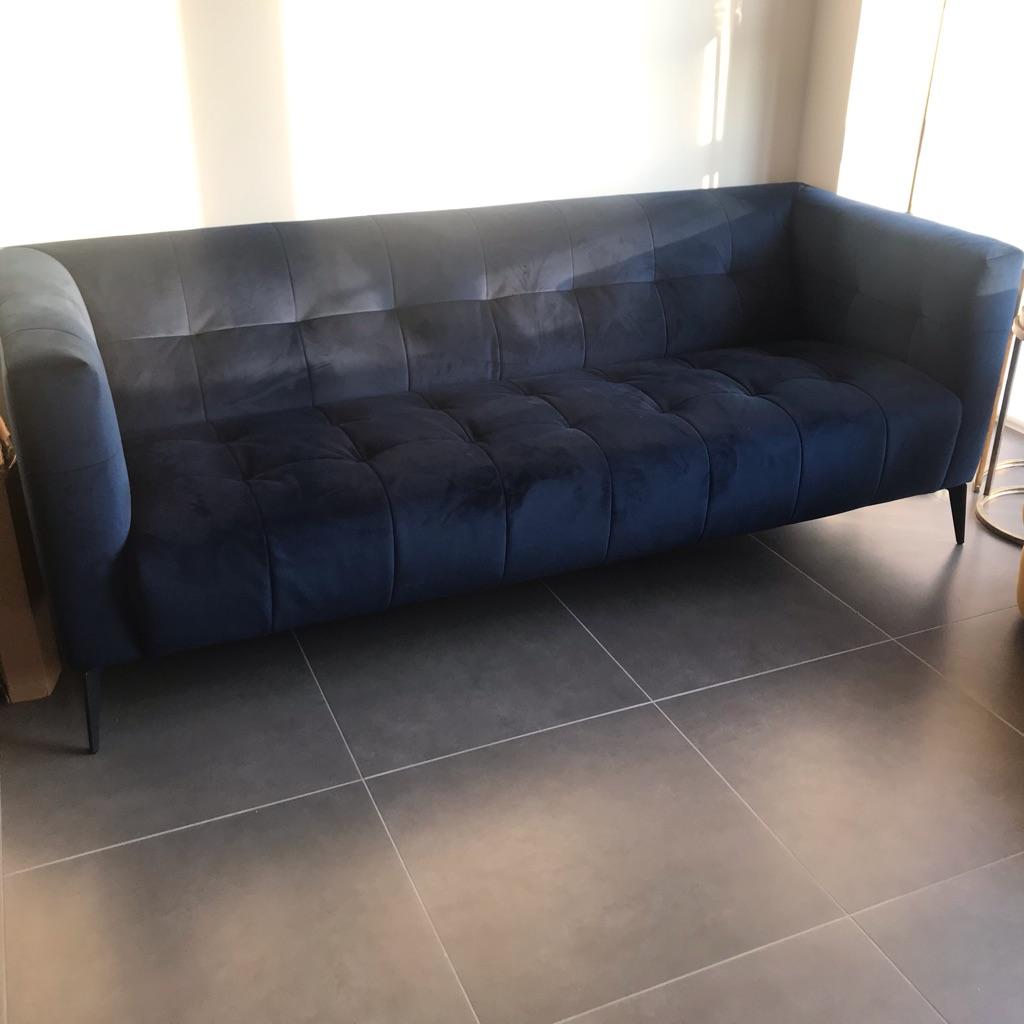 Blue crushed velvet 3 seater sofa - BRAND NEW