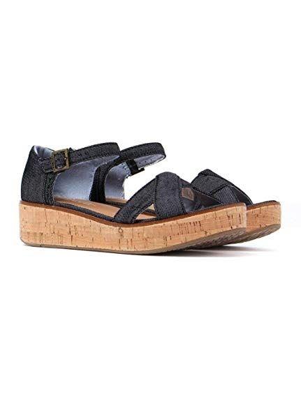 Toms Women Black Denim Platform Sandals