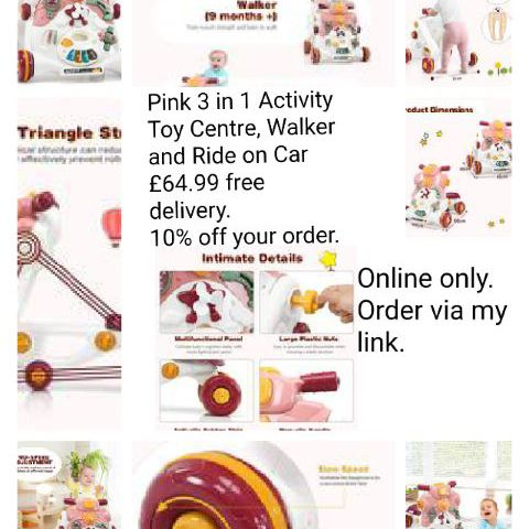 💥Pink 3 in 1 Activity Toy Centre, Walker and Ride on Car 💥£64.99 🚚Free delivery.