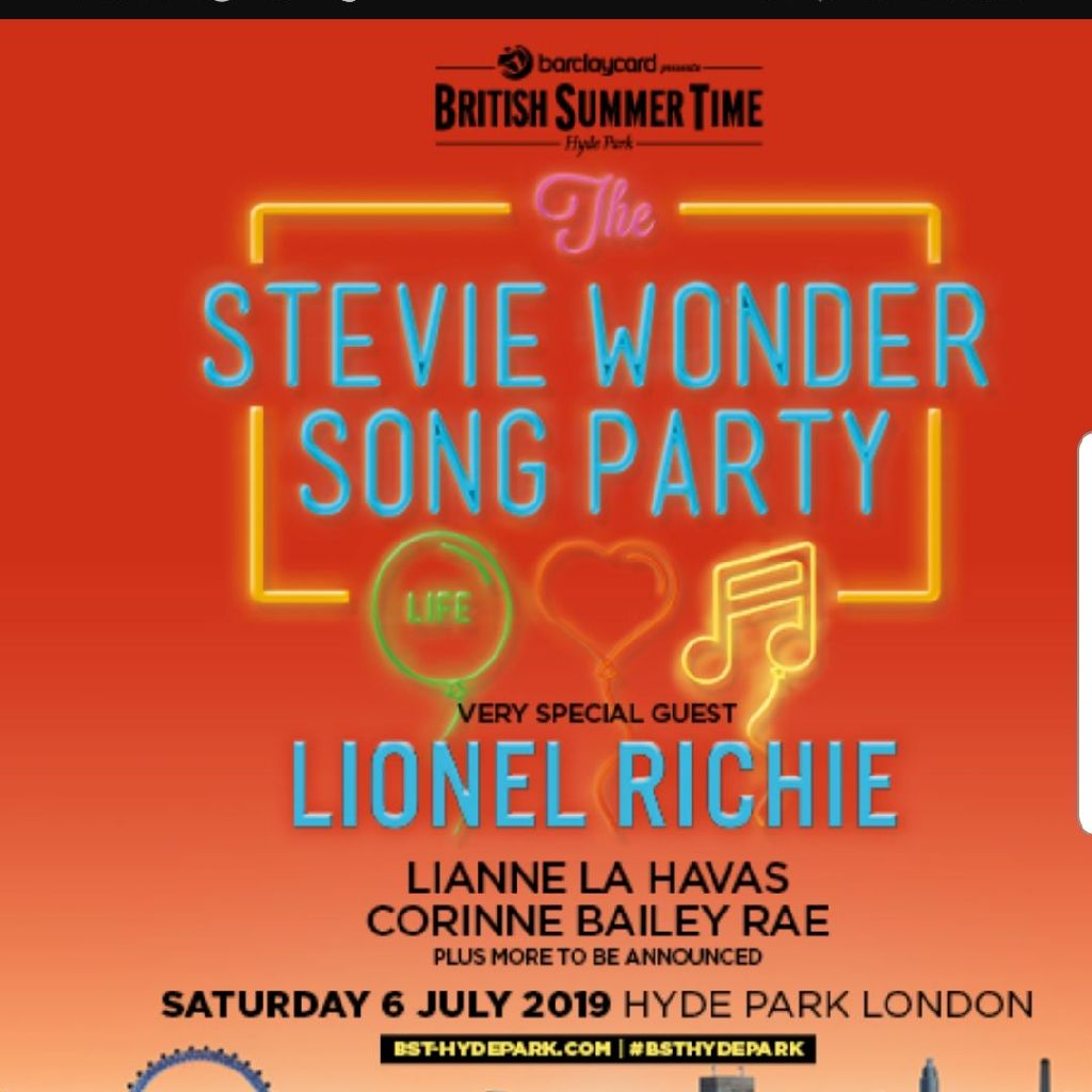Stevie wonder/Lionel Richie hyde park British summer time tickets x2!