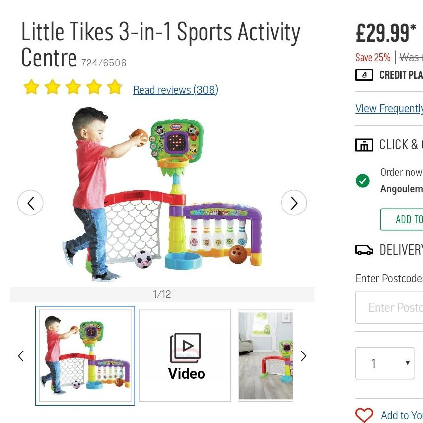 3 in 1 sports activity, age 1 to 3.