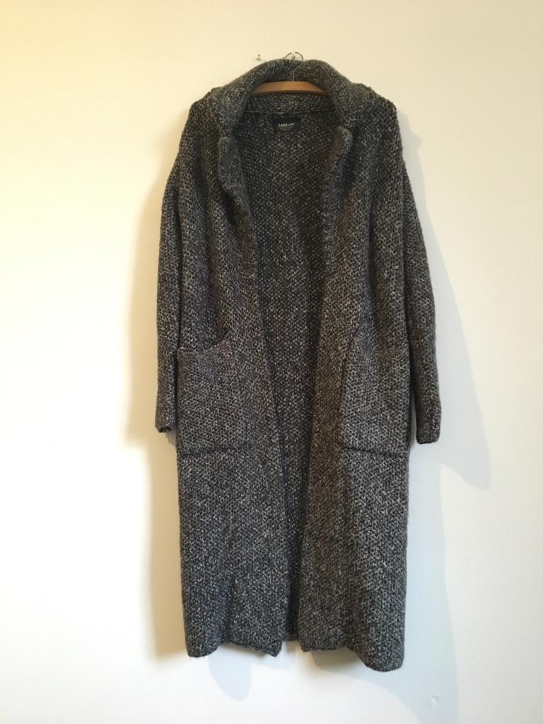 cd38d083 Zara grey long knit coat/jacket/cardigan | Village