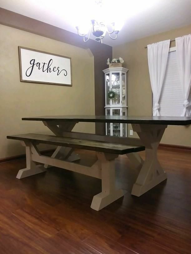 Handcrafted rustic farmer table