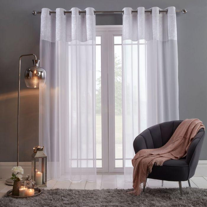 Sienna Crushed Velvet Voile Curtain