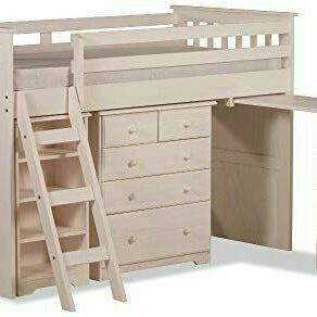 Single bed with desk, pullout 4 drawer dresser, bookcase