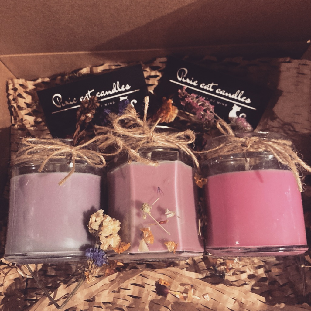 Handmade individual candles, different scents available