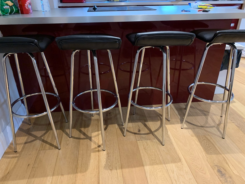 Black leather bar stools with silver foot (set)