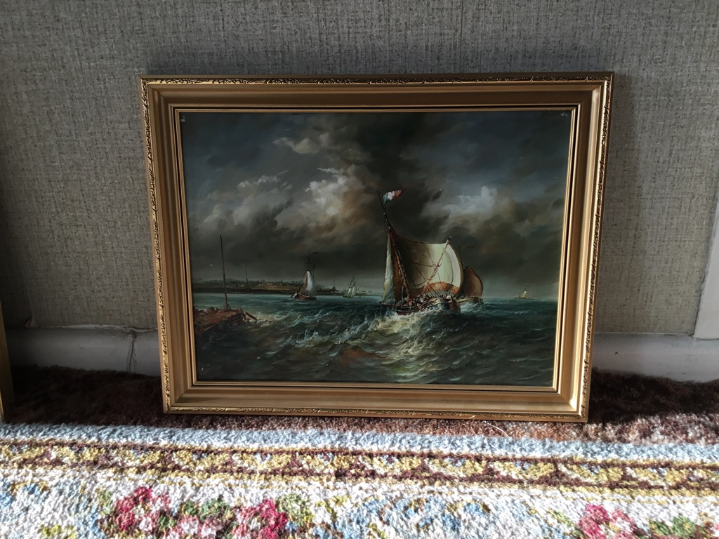Marine oil on board picture needs touching up ideal for an artist to repair 18in 14in