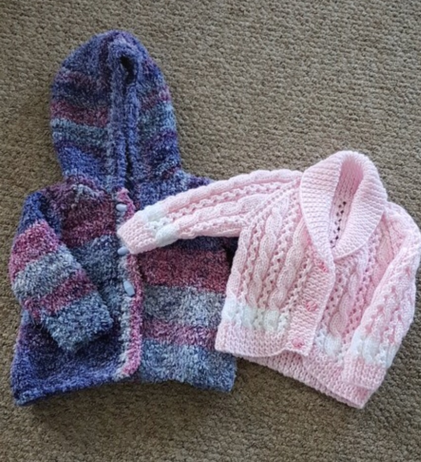 Girls hand knitted cardigans 3-6 months