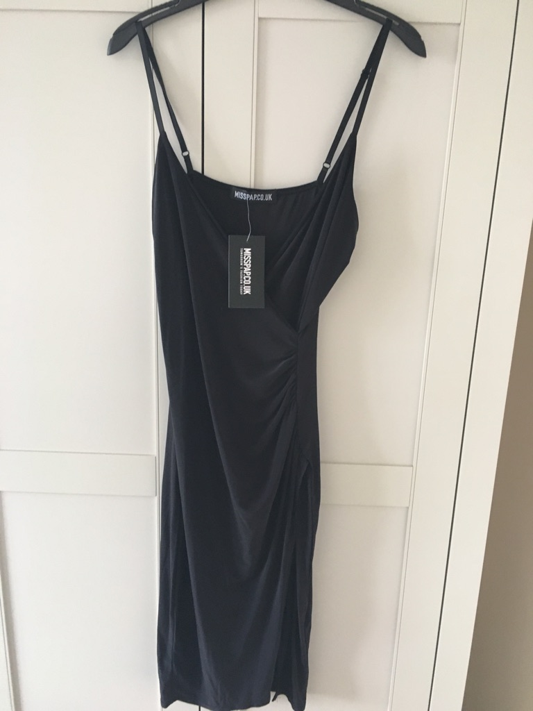 BNWT Black midi crossover dress