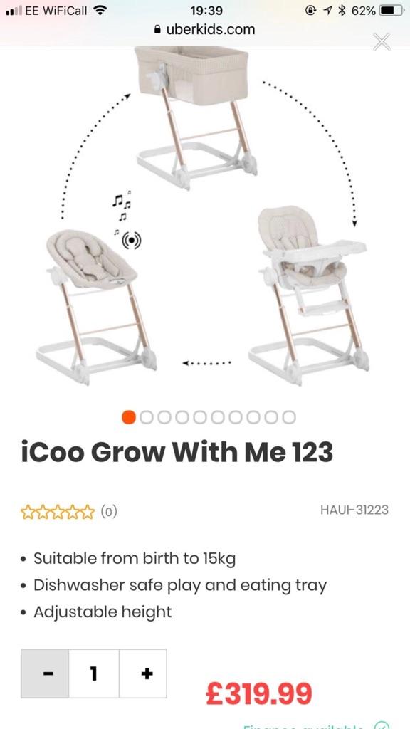 Icoo grow with me 1-2-3 crib bouncer Highchair