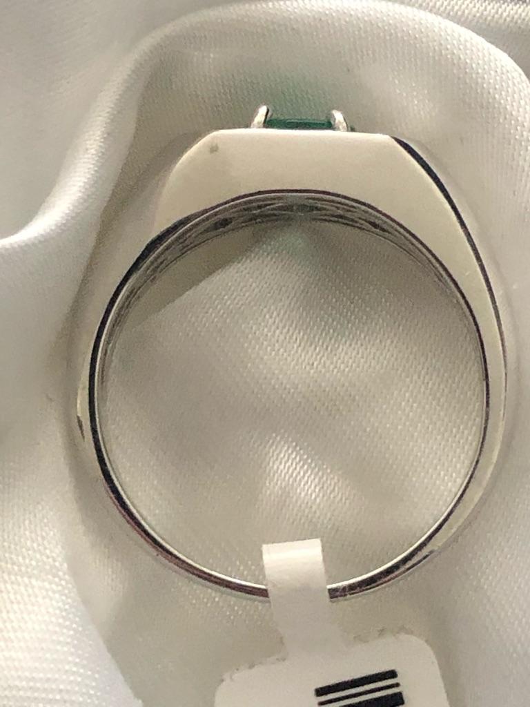 Kagem Zambian Emerald Zircon Ring Size  R U Sterling Silver 925