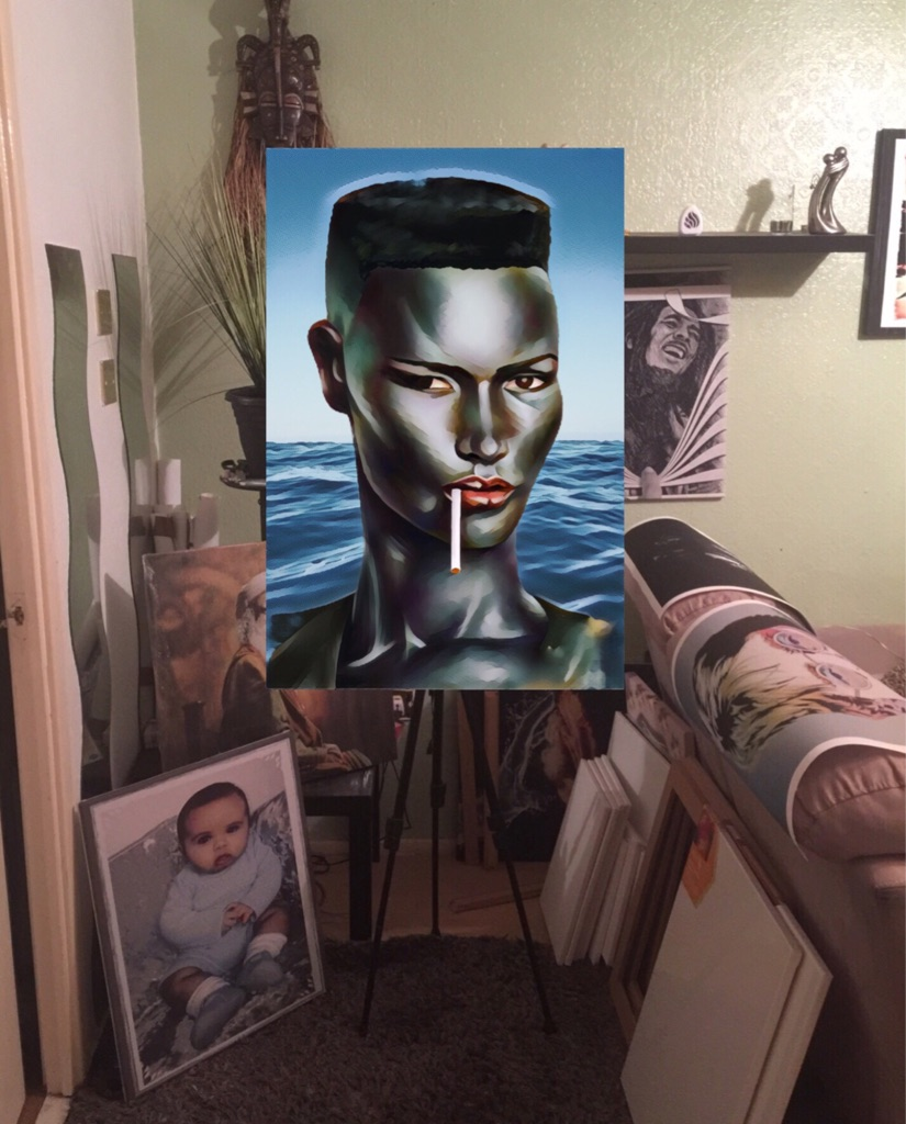 Grace Jones canvas print wall hanging ready to display