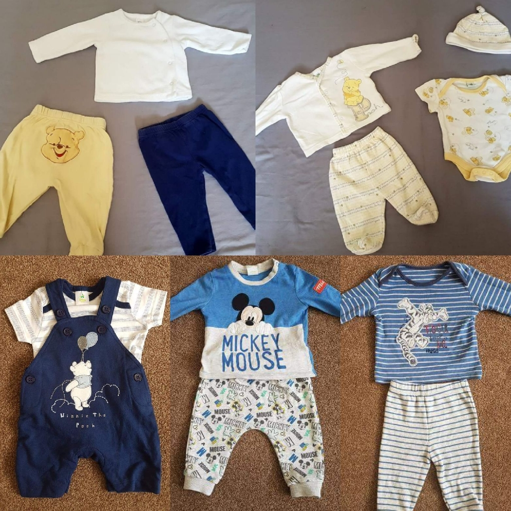 Pre-loved baby boy and girl clothes including Disney and swimwear