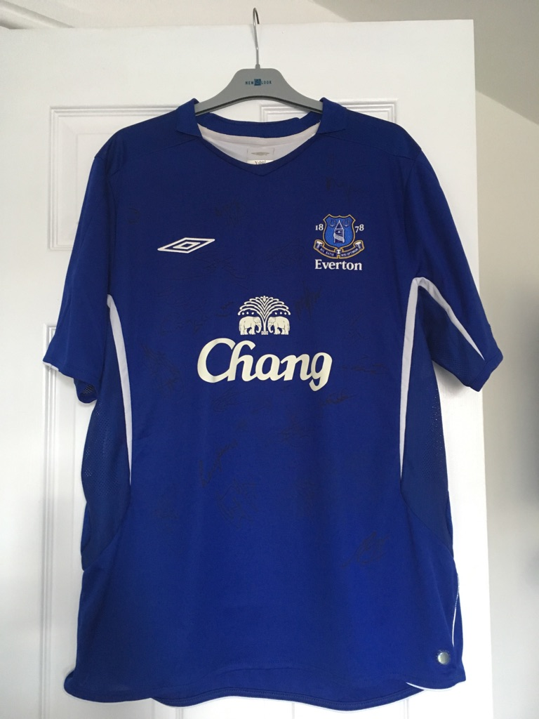 2 x Everton official signed shirt M and XL