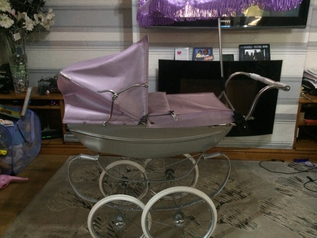BESPOKE OOAK SILVER CROSS DOLLS PRAM IN SILVER AND LILAC