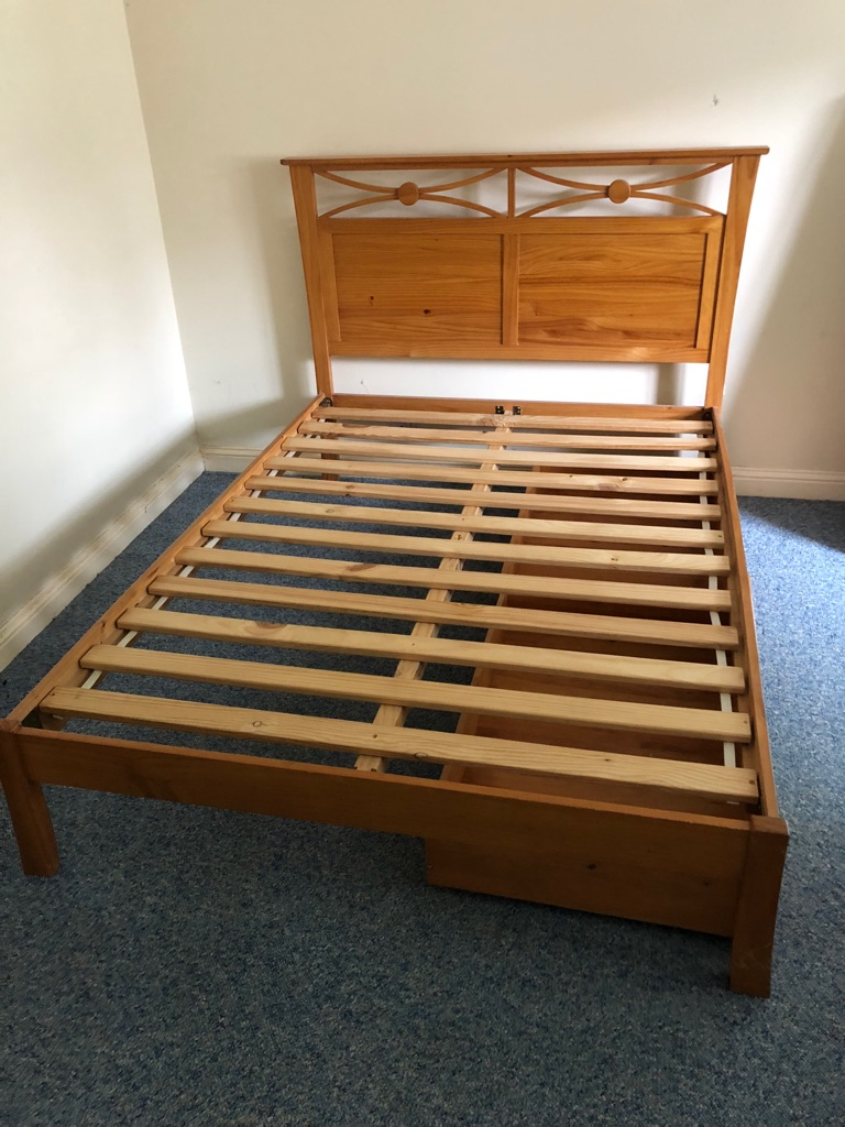 Pine double bed frame with two under bed drawers