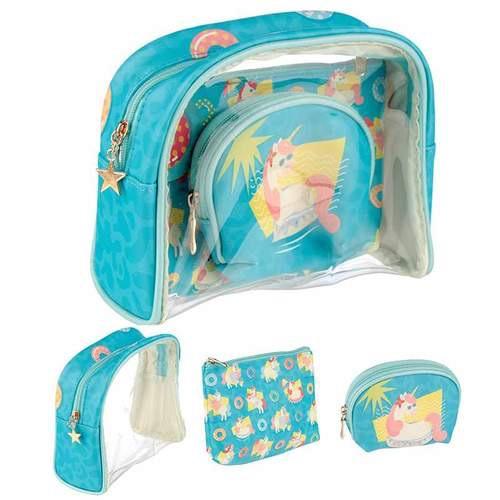 Cute tropical unicorn vanity bag set of 3