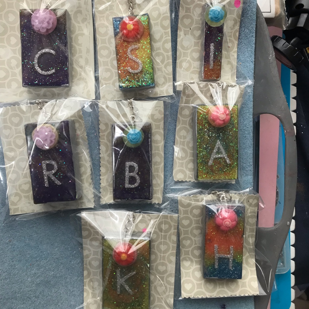 Letter key ring are bag charms