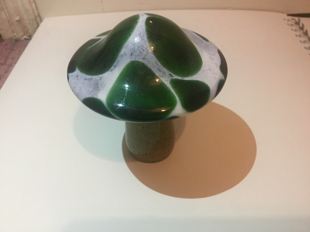 Green glass mushroom figure