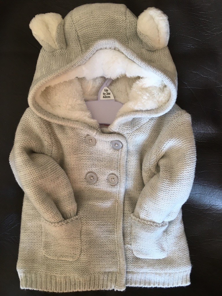 F&F baby girls grey hooded cardigan with ears