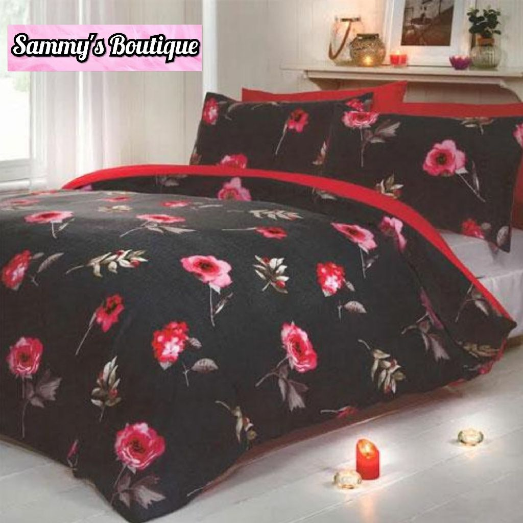 Red Flowers Duvet Set
