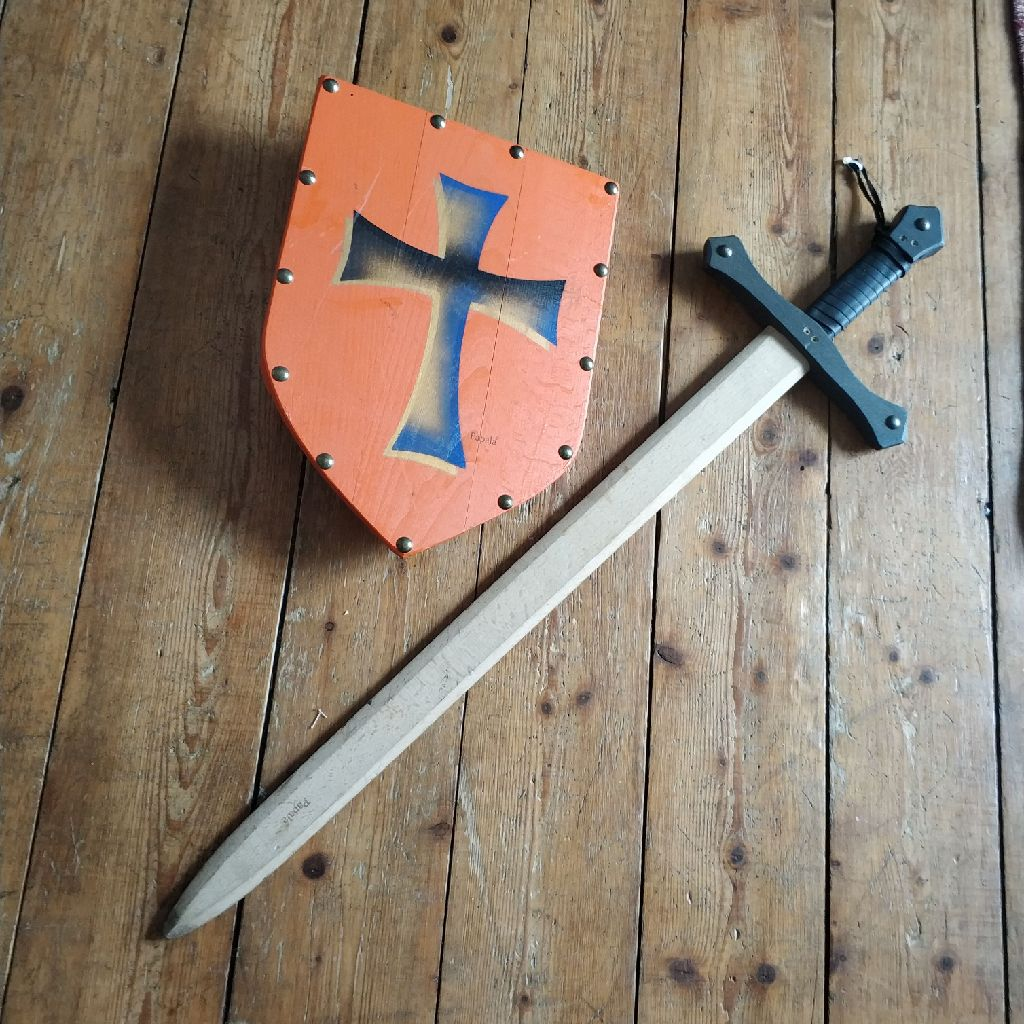 Wooden handcrafted sword and shiekd