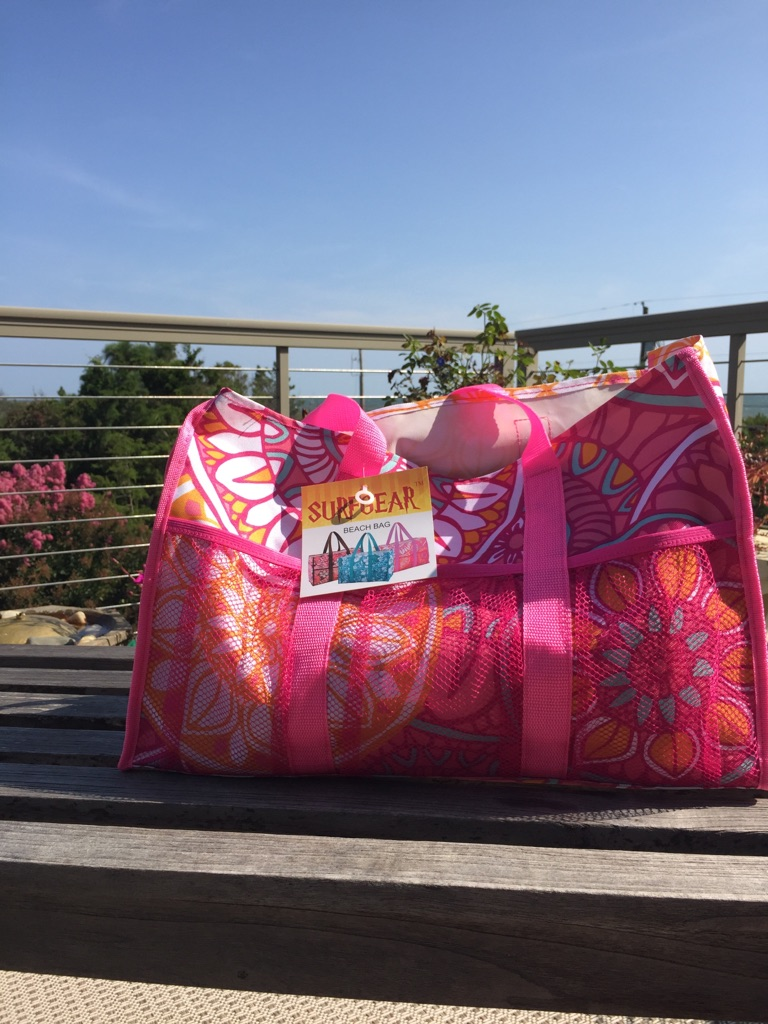 Pink Floral beachgear beach bag