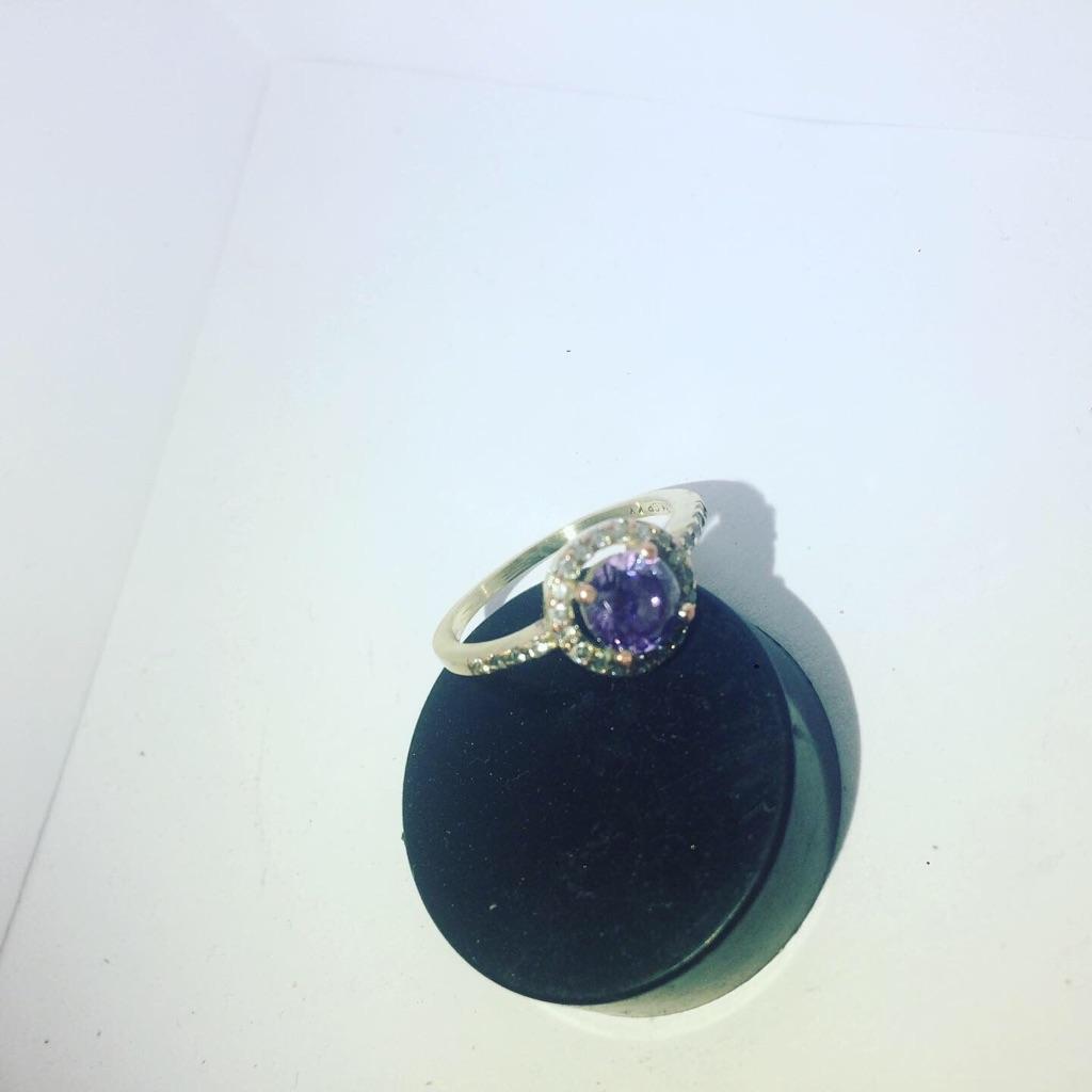 Embedded Stone 18K GP KY Ladies Ring
