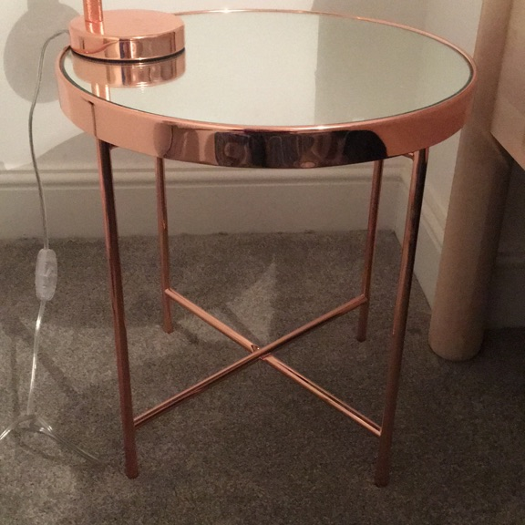 Rose gold bedside table and lamp