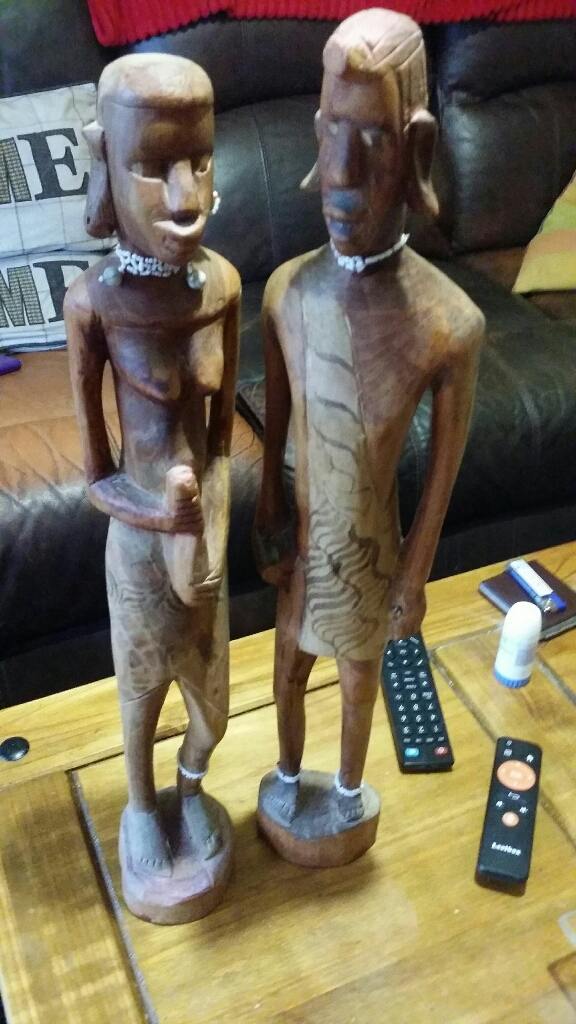 2 large african figures