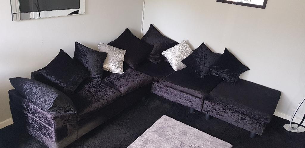 Black crushed velvet right hand corner sofa