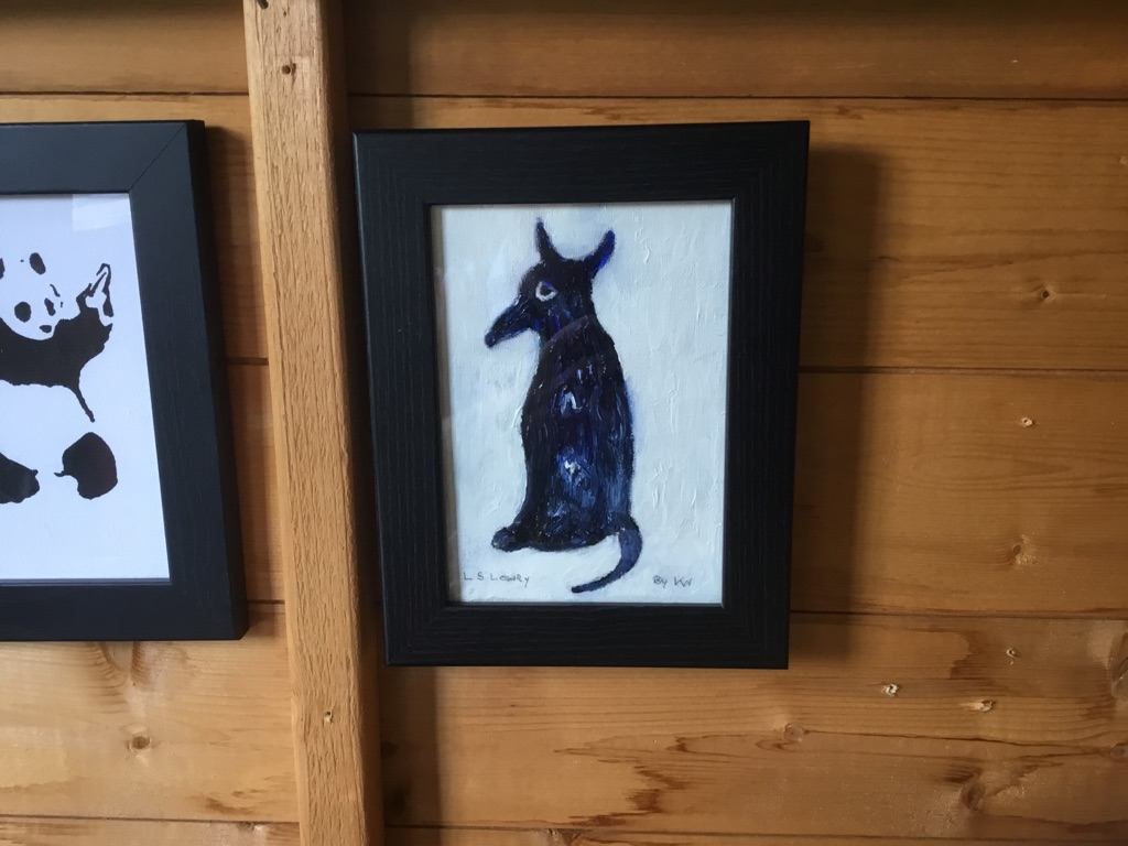 Oil on canvas of a dog signed after L S Lowry 7in 9in