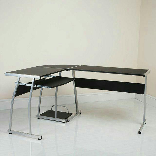 Black L-shaped corner computer desk