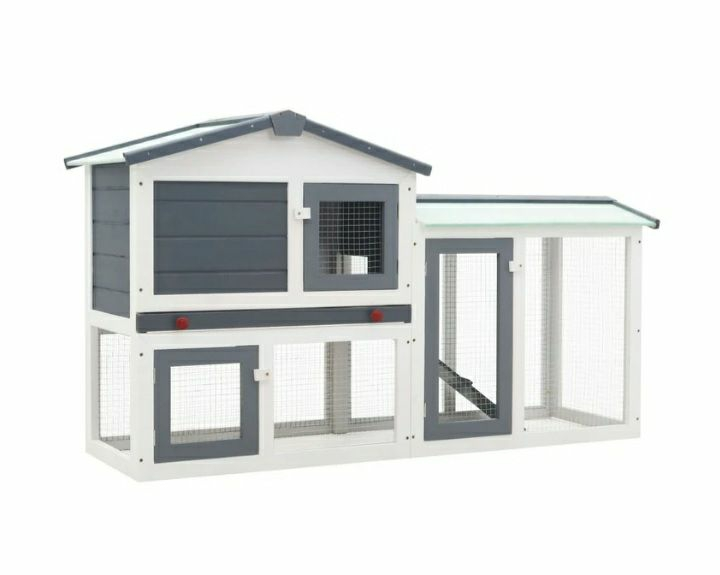 Outdoor large rabbit hutch grey and white