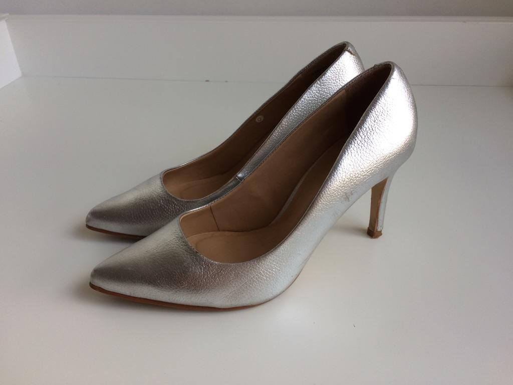 Silver heels worn once