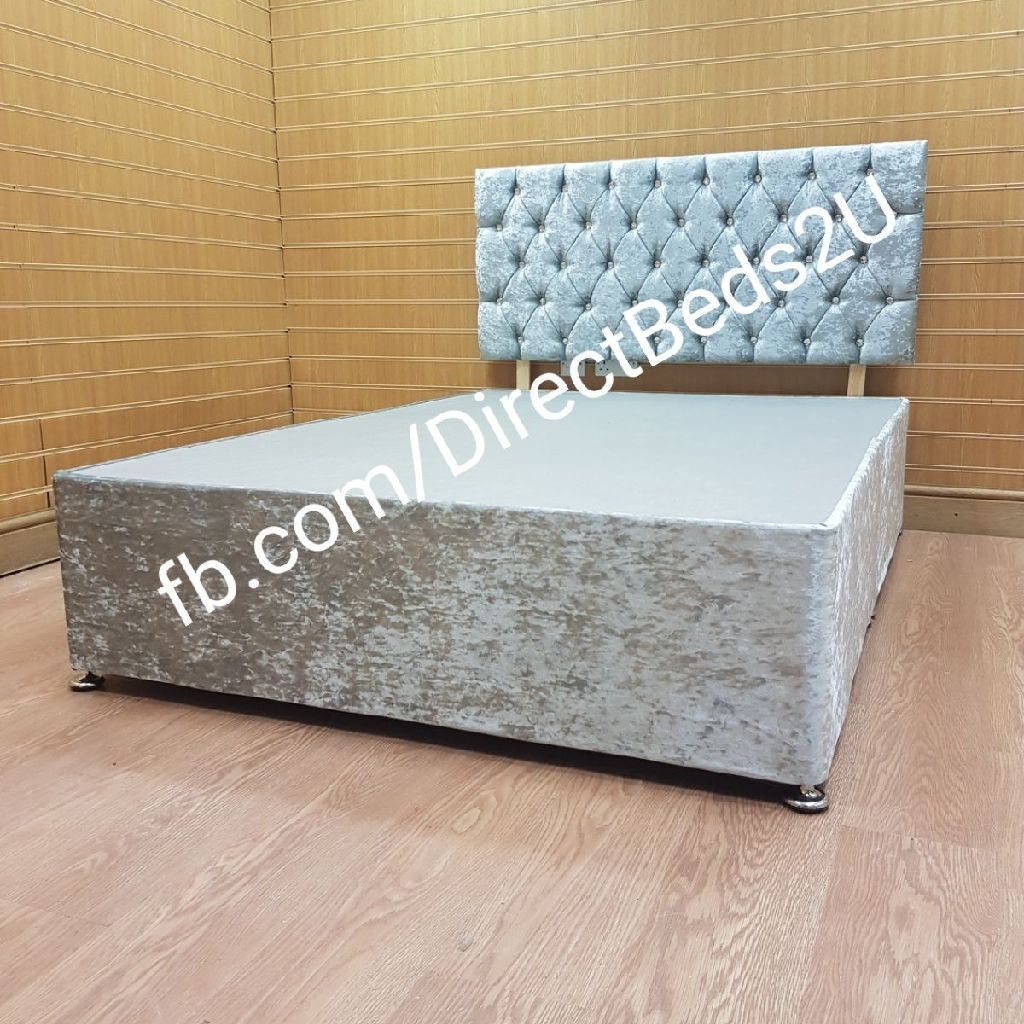 Silver Crushed velvet bed Chesterfield diamante headboard